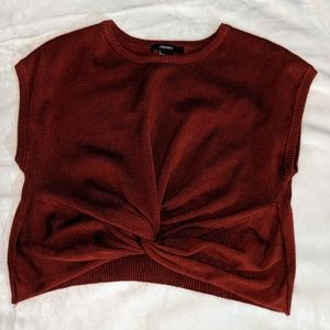 Forever 21 Maroon Twist-Front Sleeveless Sweater